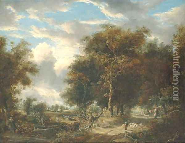 A wooded landscape with a shepherd and sheep on a path Oil Painting - John Berney Crome