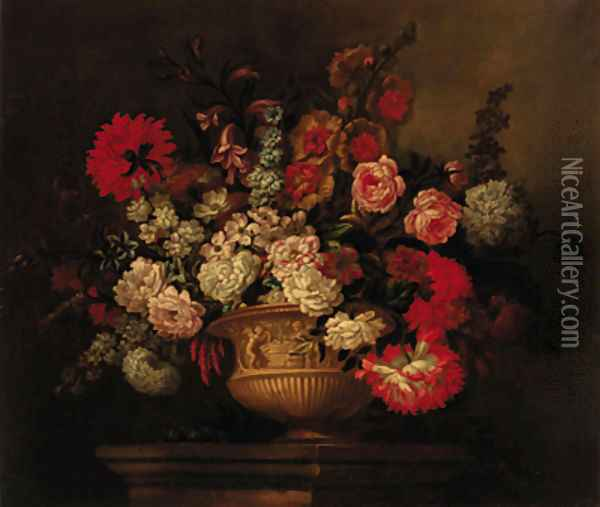 Roses, lilies, narcissi, marigolds and other flowers in a sculptured urn on a plinth Oil Painting - Pieter Casteels