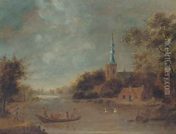A landscape with drovers crossing a river by boat, a church beyond Oil Painting - Govert Dircksz. Camphuysen