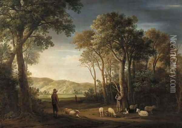 A wooded landscape with shepherds with their flocks in a clearing Oil Painting - Jacob Van Der Croos