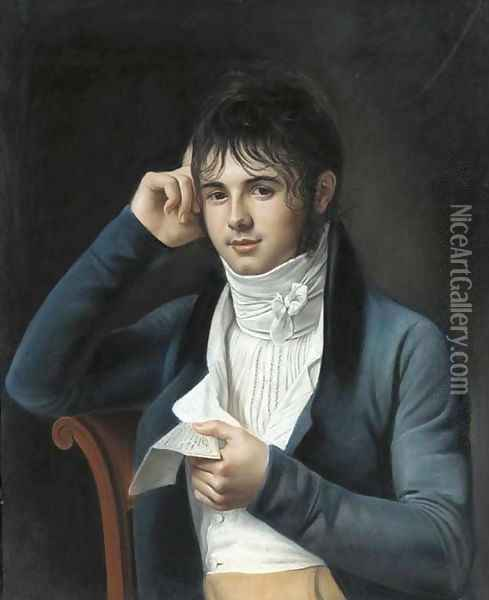 A young man wearing a blue coat Oil Painting - Marie-Gabrielle Capet