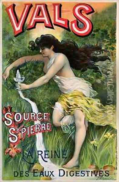 Poster advertising Source St Pierre eau de Vals natural mineral water Oil Painting - L. Courchez