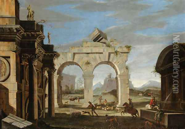 A classical capriccio with a hunting party and shepherds with their flock Oil Painting - Niccolo Codazzi