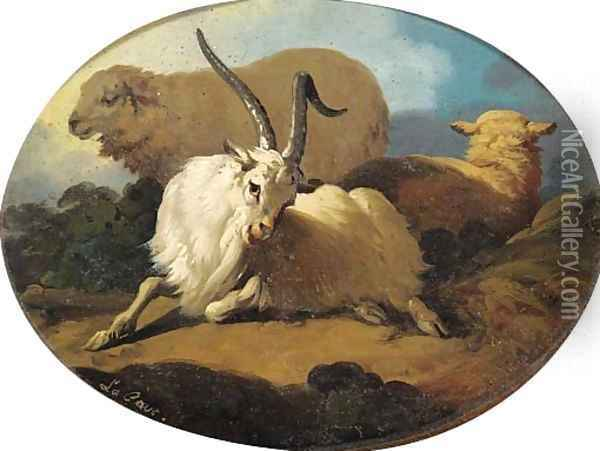 A goat and two sheep in a landscape Oil Painting - Peter Le Cave