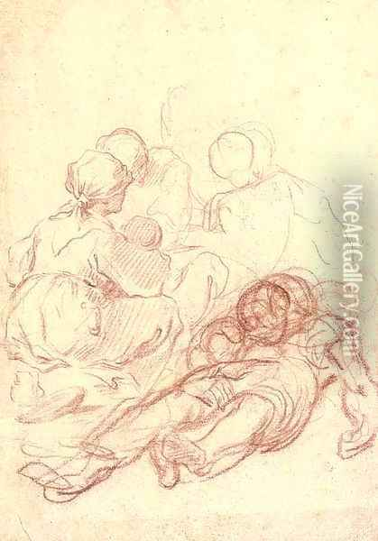 A peasant woman seen from behind, seated by a reclining figure, two others seen beyond Oil Painting - Giulio Carpione