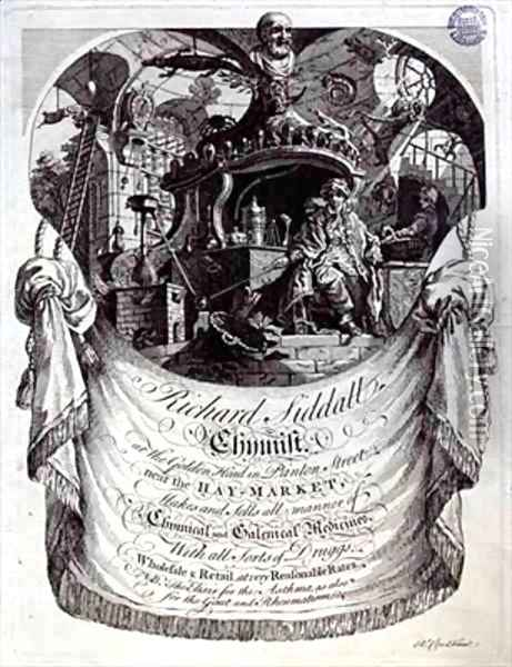 Trade card for Richard Siddall Chemist at the Golden Head Panton Street London Oil Painting - Richard Clee