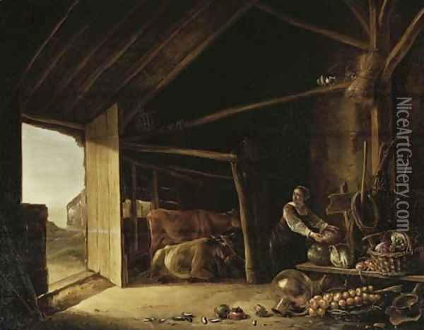 A barn interior with cattle and a maid fetching vegetables Oil Painting - Aelbert Cuyp