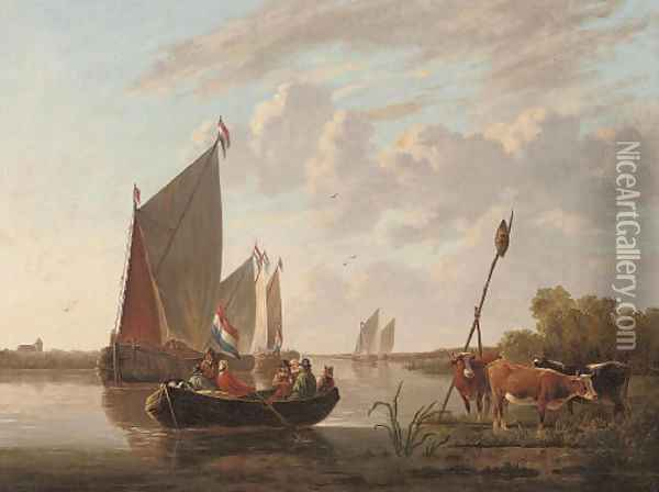 Departing from the riverbank Oil Painting - Aelbert Cuyp