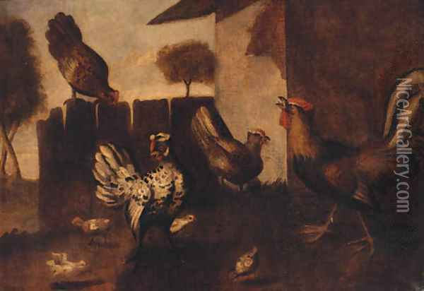 The Hen House Oil Painting - Marmaduke Craddock