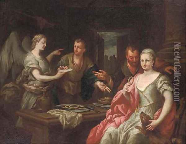 An Angel appearing as a messenger to a family in an interior Oil Painting - Giacomo Ceruti (Il Pitocchetto)