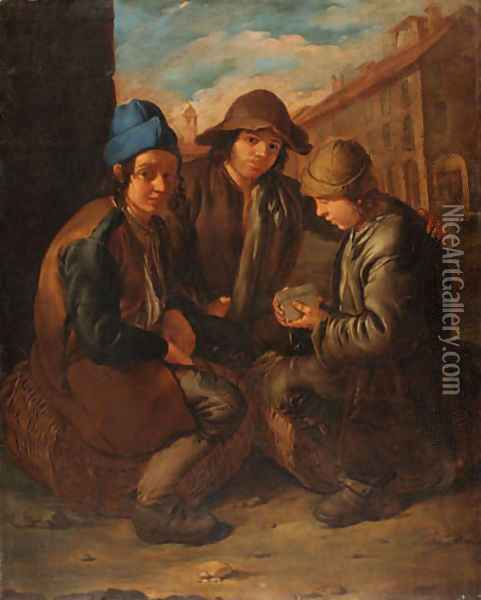 Urchins playing cards Oil Painting - Giacomo Ceruti (Il Pitocchetto)