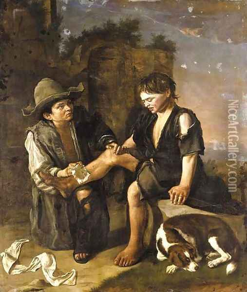 Two young boys with a dog Oil Painting - Giacomo Ceruti (Il Pitocchetto)