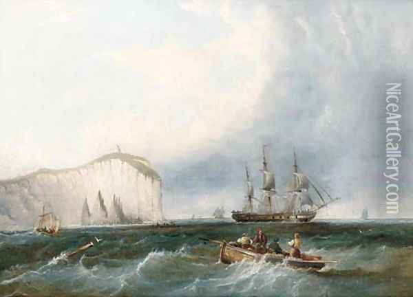 A frigate weaving through small craft off a lofty headland Oil Painting - James Wilson Carmichael