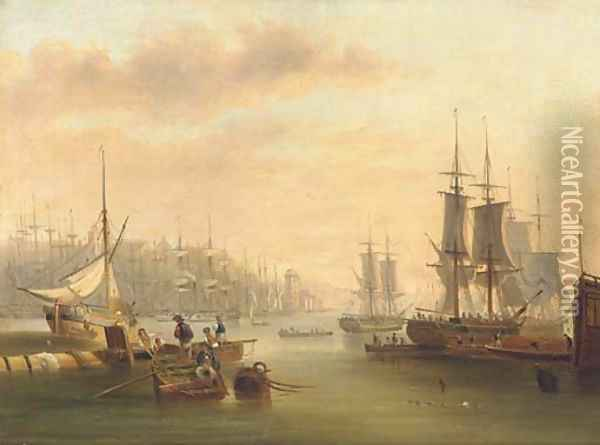 Hustle and bustle and a forest of masts in a port Oil Painting - John Wilson Carmichael