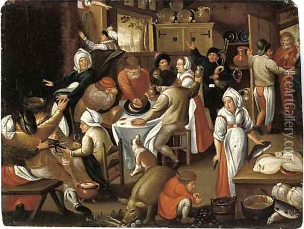 Peasants feasting and making music in an inn Oil Painting - Marten Van Cleve
