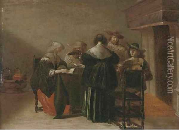 Elegant company making music in an interior Oil Painting - Pieter Codde