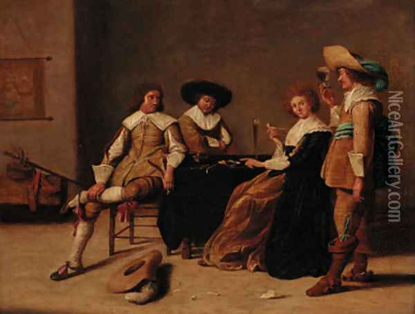 Elegant company smoking and drinking in an interior Oil Painting - Pieter Codde