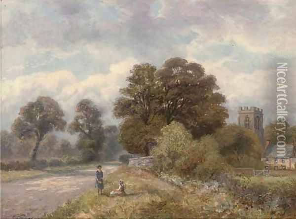Young girls beside a country road with a church beyond Oil Painting - Enoch Crosland