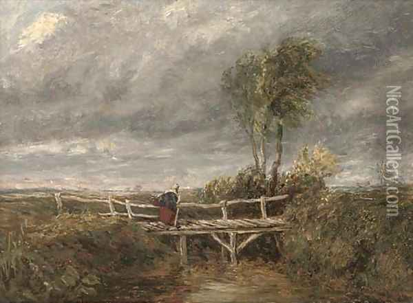 A woman crossing a wooden bridge in a stormy landscape Oil Painting - David Cox