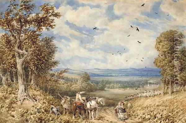 Asking for directions on a blustery day above the Vale of Clwyd Oil Painting - David Cox