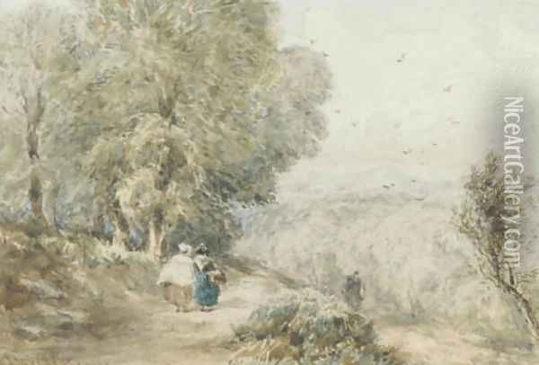 Figures on a rural track Oil Painting - David Cox