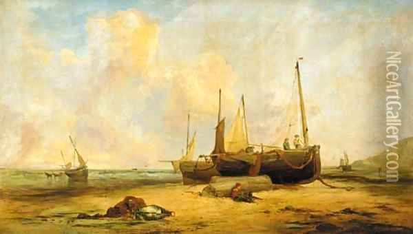 Mending the nets Oil Painting - Edward William Cooke