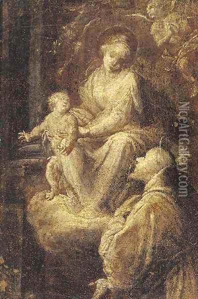 The Madonna and Child adored by a male saint Oil Painting - Giuseppe Maria Crespi