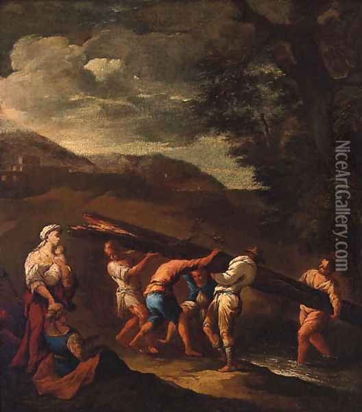 Peasants carrying a fallen tree across a stream in a landscape Oil Painting - Giuseppe Maria Crespi
