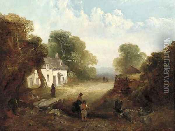 Figures before a sunlit cottage Oil Painting - John Crome
