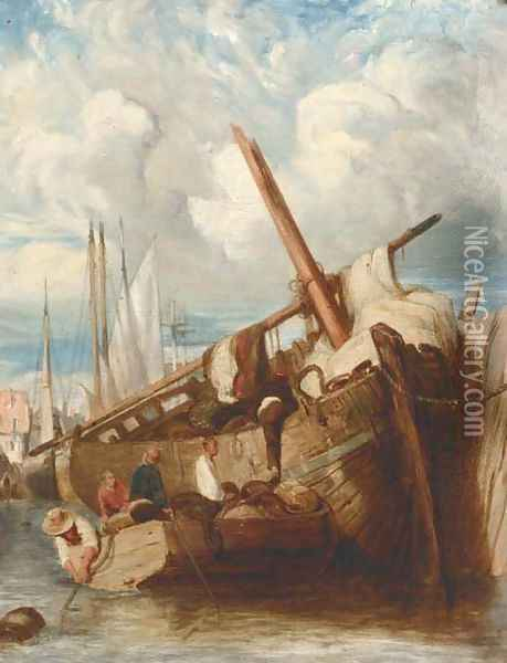 Unloading the barge Oil Painting - John Sell Cotman