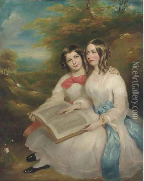 Portrait of Rebecca and Gertrude Bates Oil Painting - Marshall Claxton