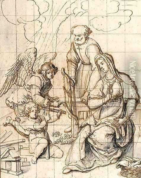The Holy Family In The Carpenter'S Shop Attended By An Angel Oil Painting - Sigismondo Coccapani