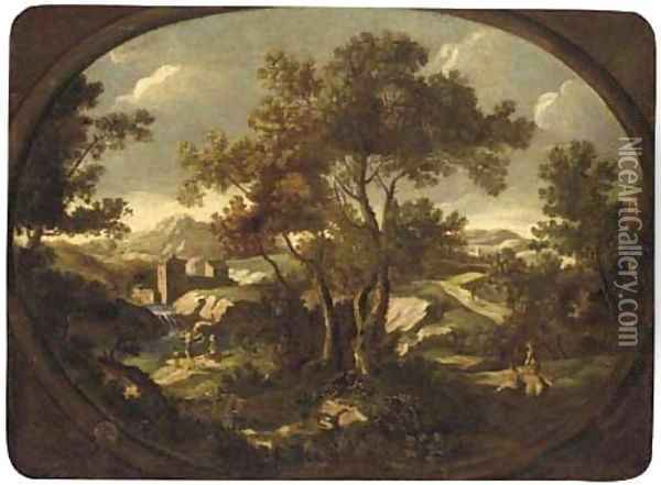A landscape with travellers at rest by a river, other figures on a path, a walled town beyond Oil Painting - Gianbattista Cimaroli