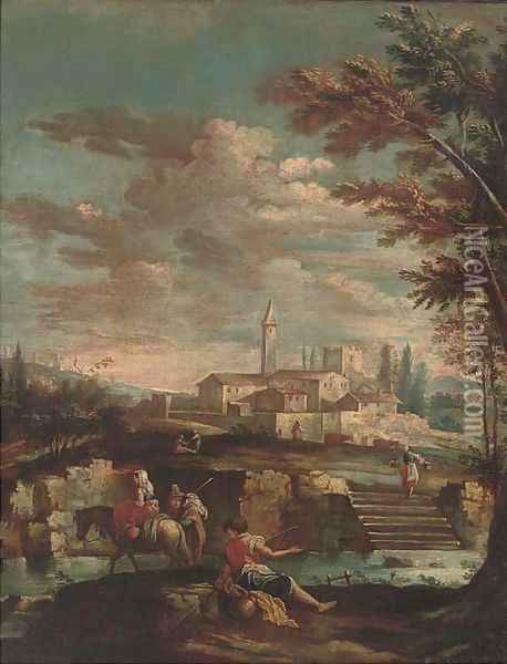An Italianate river landscape with travellers and an angler on a river bank, a town beyond Oil Painting - Gianbattista Cimaroli