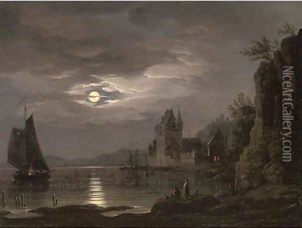 A moonlit river landscape with figures on the shore, shipping beyond Oil Painting - Louis Johann Ludwig Catoir