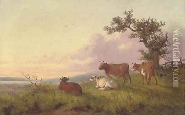 Cattle in a landscape, sunset Oil Painting - Thomas Sidney Cooper