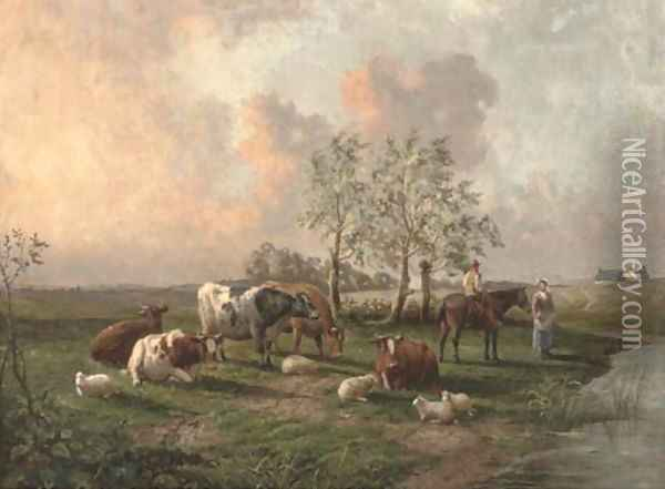 Figures with cattle and sheep in a landscape Oil Painting - Thomas Sidney Cooper
