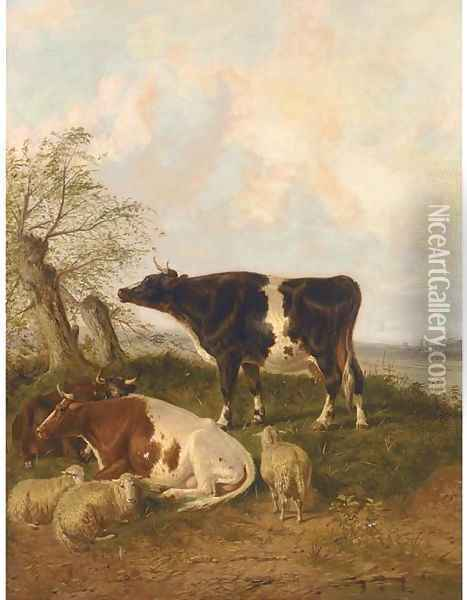 Cattle and sheep resting in a river landscape Oil Painting - Thomas Sidney Cooper