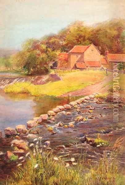 The stepping stones Oil Painting - A.B. Connor