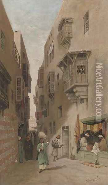 An Eastern street scene, thought to be Cairo Oil Painting - Robert Magnus Chevalier