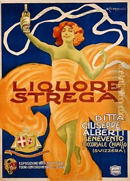 Poster advertising Strega liquer Oil Painting - Alberto Chappuis