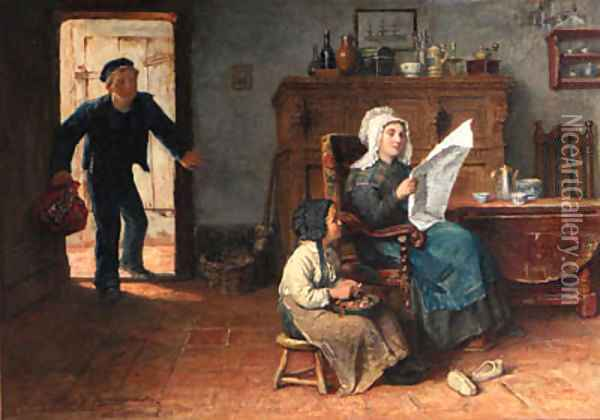 Coming home from sea Oil Painting - Johannes Marinus Schmidt Crans