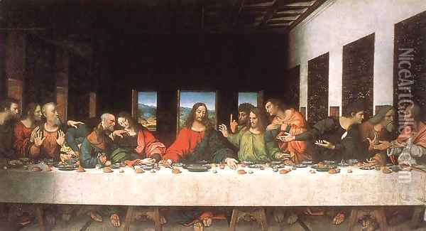 Last Supper (copy) 16th century Oil Painting - Leonardo Da Vinci