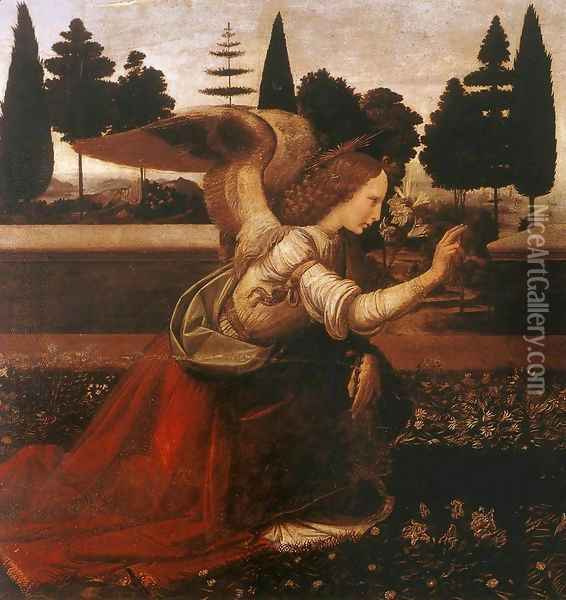 Annunciation (detail 1) 1472-75 Oil Painting - Leonardo Da Vinci