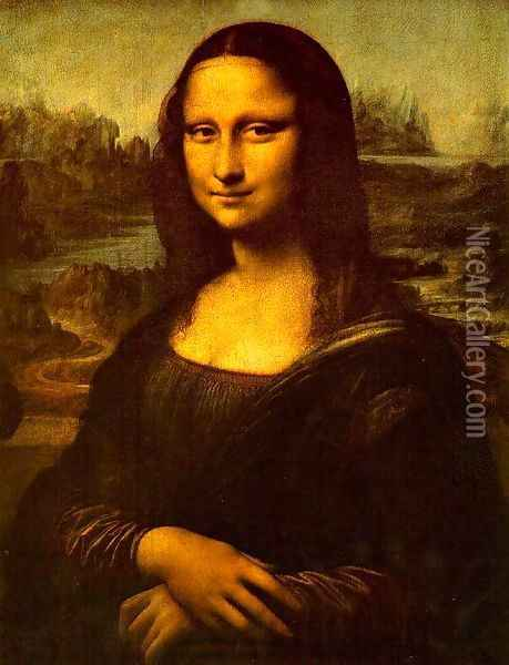 Mona Lisa (or La Gioconda) Oil Painting - Leonardo Da Vinci
