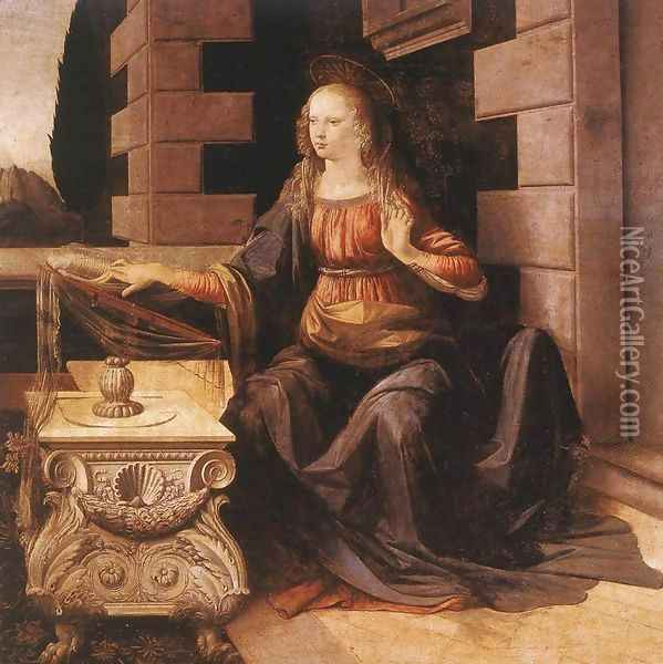 Annunciation (detail 2) 1472-75 Oil Painting - Leonardo Da Vinci