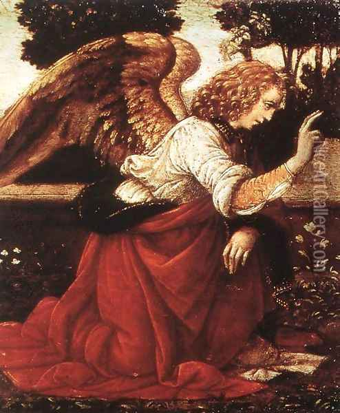 Annunciation (detail 1) 1478-82 Oil Painting - Leonardo Da Vinci