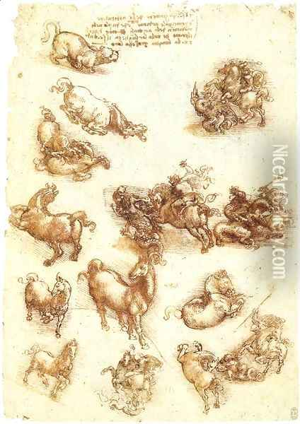 Study sheet with horses Oil Painting - Leonardo Da Vinci