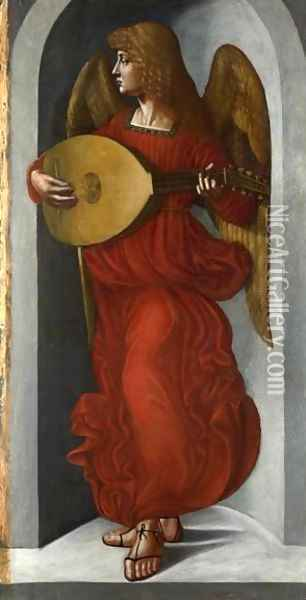 An Angel in Red with a Lute Oil Painting - Leonardo Da Vinci