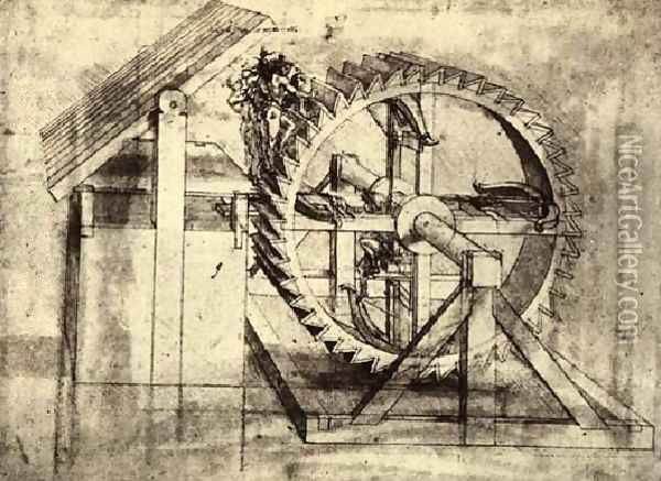 Crossbow Machine Oil Painting - Leonardo Da Vinci